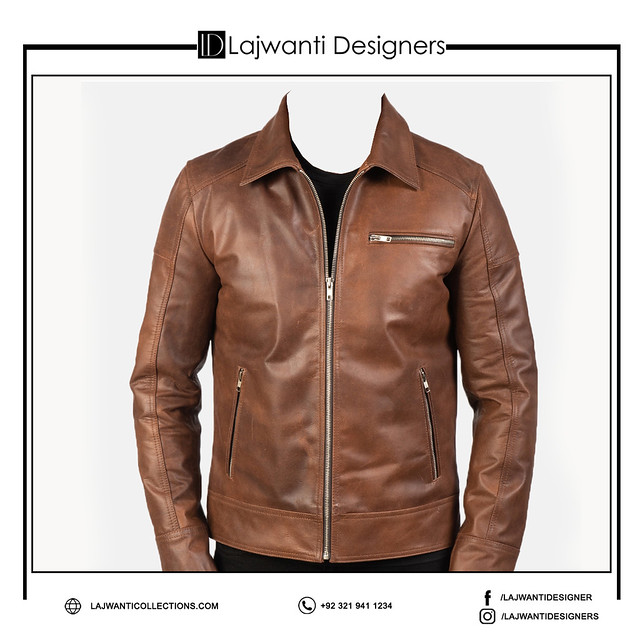 Men latest Brown Color Pure Leather Design Leather Jacket For Men With Zip Closure Type Jacket