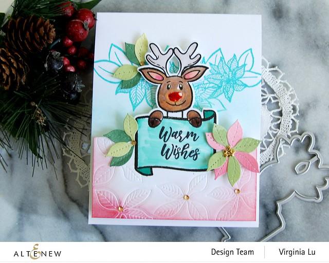 Altenew-MerryReindeer Stamp & Die Bundle-Holiday Flower Stamp Set-Poinsettia 3D Die Set-003