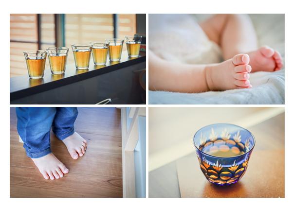 夏の家族写真(ご自宅) 赤ちゃんの足 麦茶