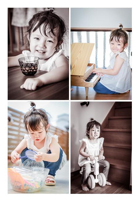 3歳の女の子 ピアノをひく 三輪車に乗る 庭で砂遊び