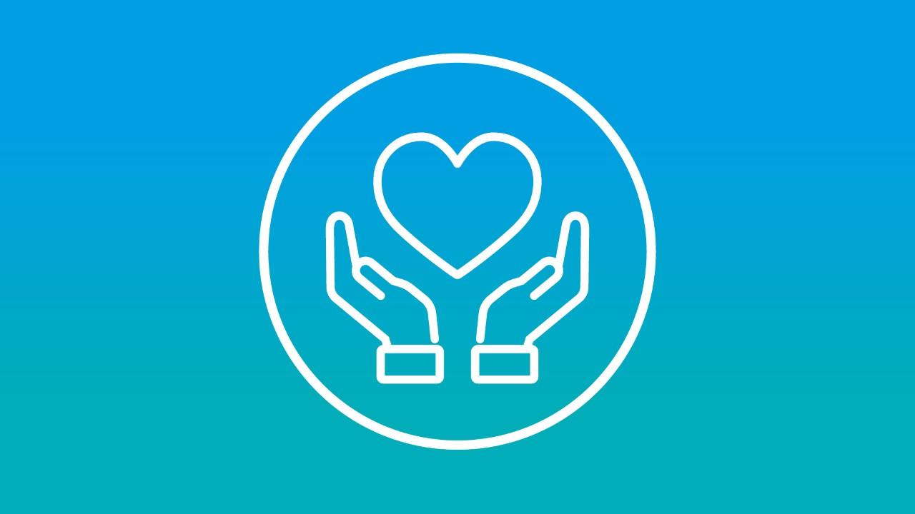 蓝色背景上两只手举着一颗心的标志