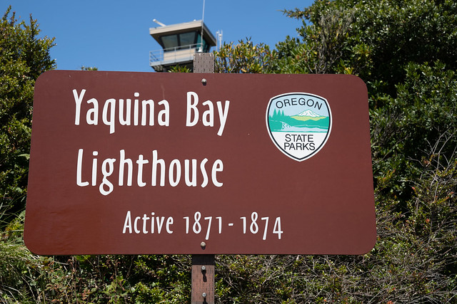 Newport, Oregon - August 1, 2020: Sign for the Yaquina Bay Lighthouse at the State Park