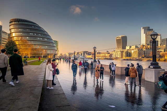 South Bank London . City Hall to the left.  Archive 2012