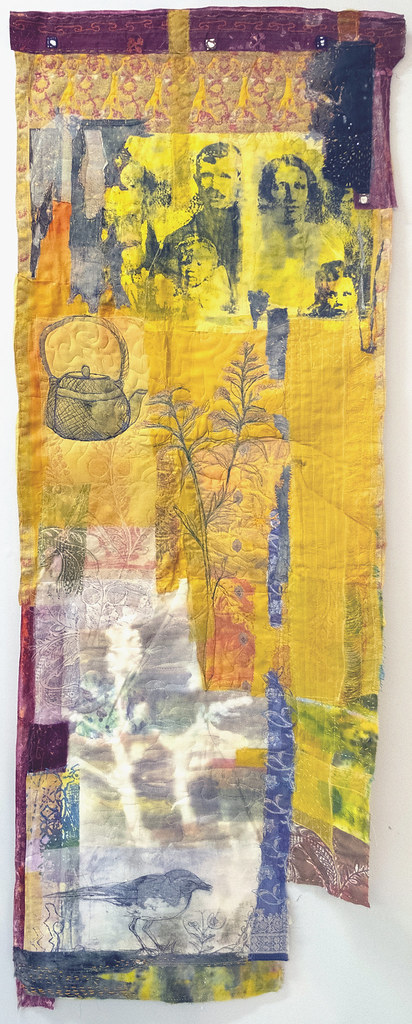 5. Cas Holmes Pani Kekkavva (Kettle) Wagtail 2019. 160 cm x 59 cm x 0.5 cm. Mixed media paint, print, cloth and stitch with found materials