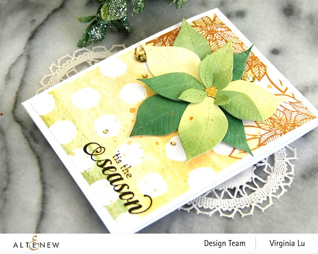 Altenew-Poinsettia 3D Die-HolidayFlower Stamp Set-WarmBlessings Stamp Set-Celebrate Papd Pad-002