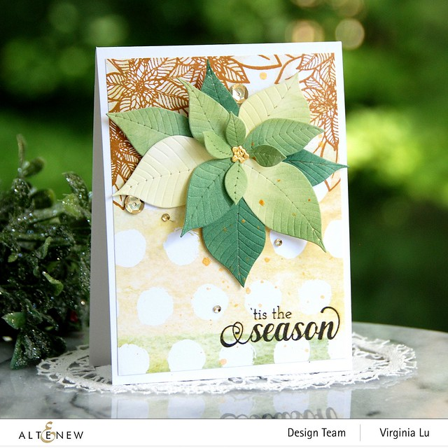 Altenew-Poinsettia 3D Die-HolidayFlower Stamp Set-WarmBlessings Stamp Set-Celebrate Papd Pad