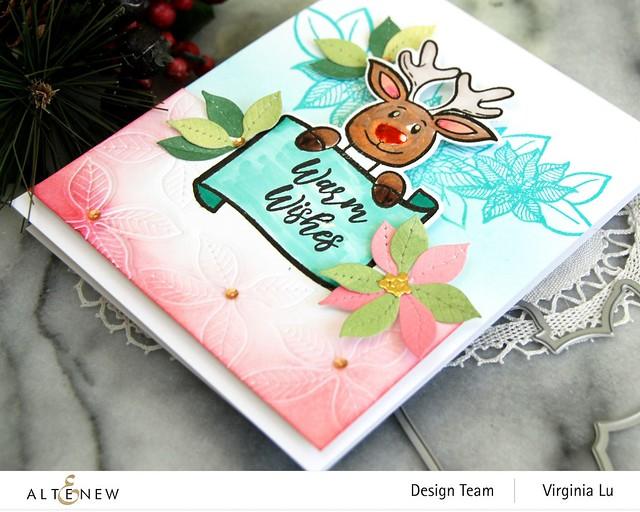 Altenew-MerryReindeer Stamp & Die Bundle-Holiday Flower Stamp Set-Poinsettia 3D Die Set-002