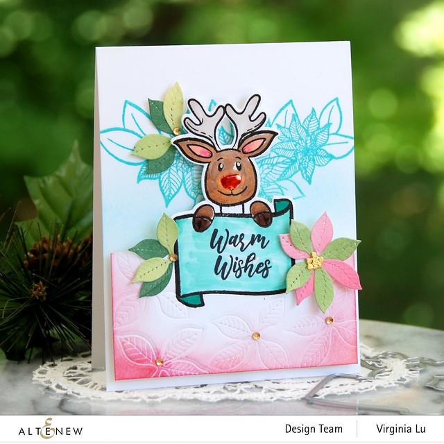 Altenew-MerryReindeer Stamp & Die Bundle-Holiday Flower Stamp Set-Poinsettia 3D Die Set-001