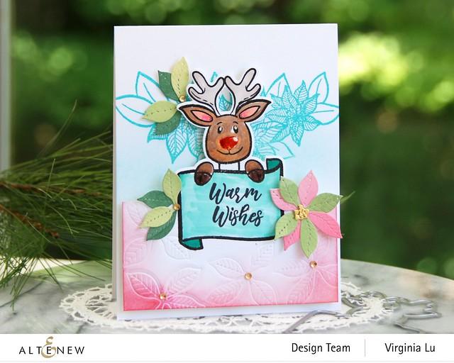 Altenew-MerryReindeer Stamp & Die Bundle-Holiday Flower Stamp Set-Poinsettia 3D Die Set