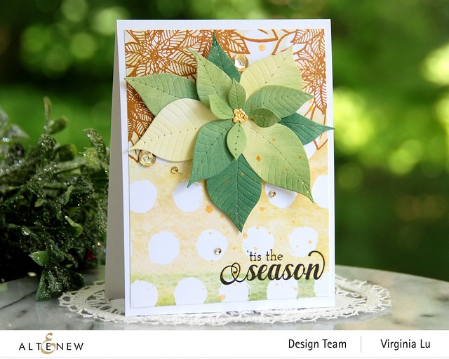 Altenew-Poinsettia 3D Die-HolidayFlower Stamp Set-WarmBlessings Stamp Set-Celebrate Papd Pad-001