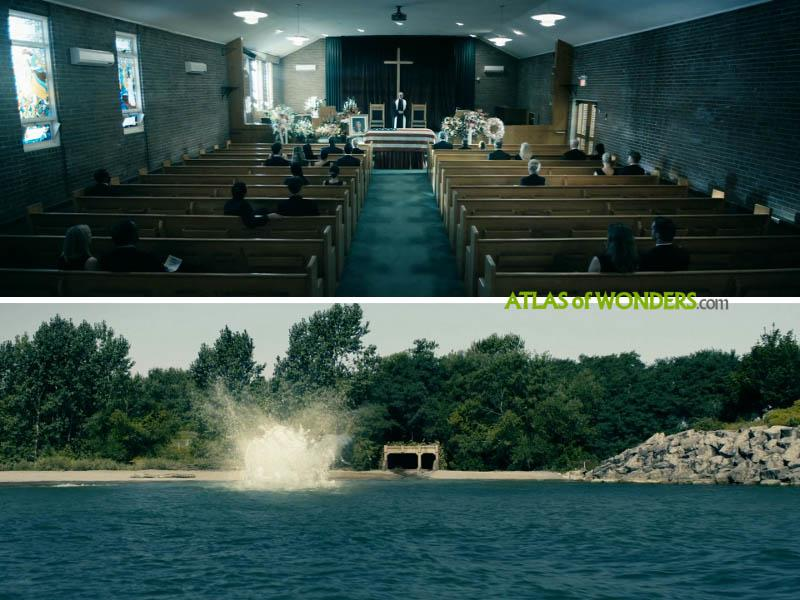 Funeral church and beach