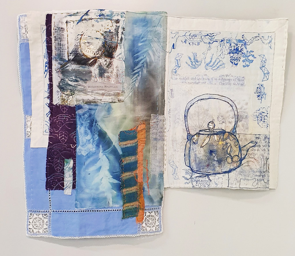 19. Cas Holmes Wanderers Nightsong 2019. 60 cm x 70 cm. Mixed media paint, print, cloth and stitch with found materials