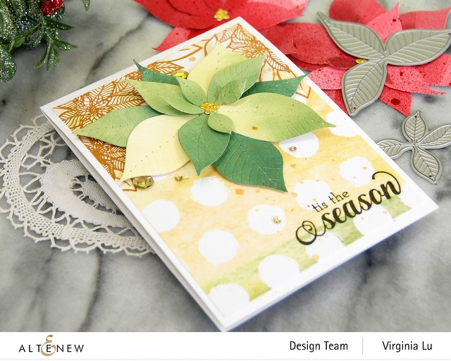 Altenew-Poinsettia 3D Die-HolidayFlower Stamp Set-WarmBlessings Stamp Set-Celebrate Papd Pad-003