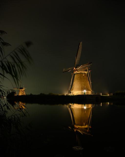 Windmills in floodlights