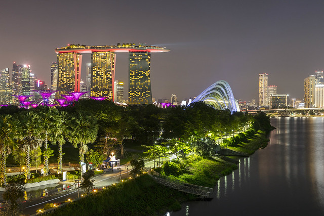 Gardens by The Bay and Marina Bay at Night