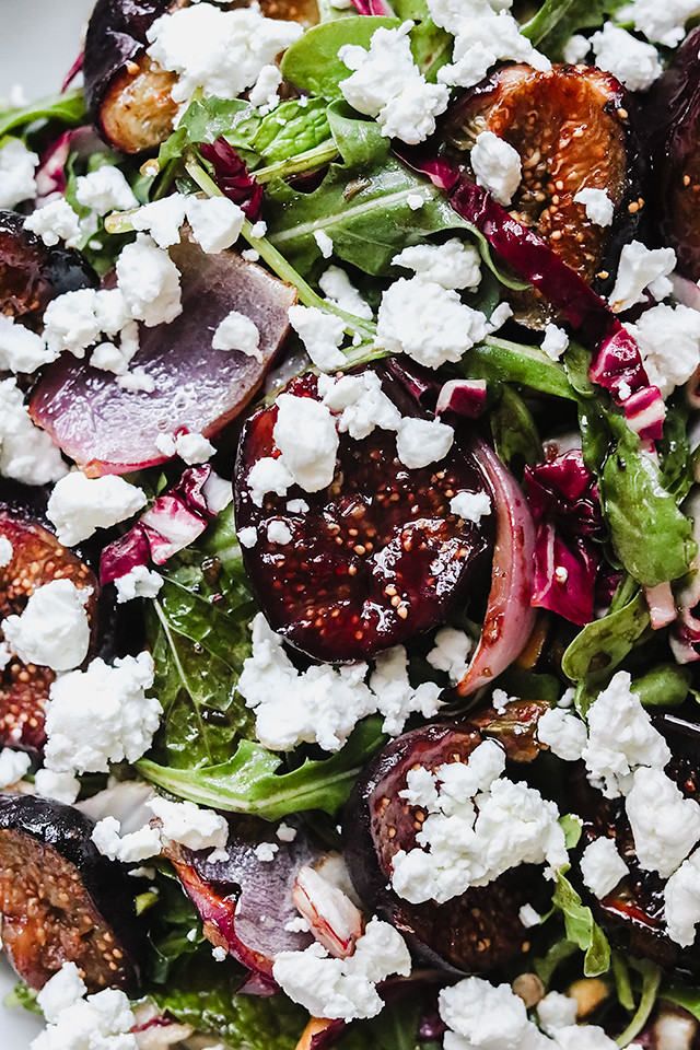 Roasted Fig and Onion Salad with Radicchio and Goat Cheese