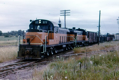 577+576 take a Viroqua-bound freight across the C&NW just west of Sparta