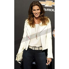 Cindy Crawford White Biker Leather Jacket