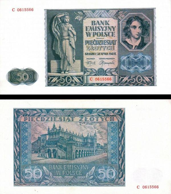 50 Zlotych Poľsko 1941, P102