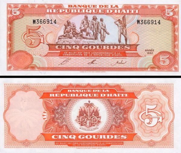 5 Gourdes Haiti 1992, P261a