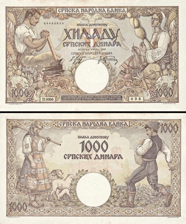 1000 srbských dinárov Srbsko 1942, P32