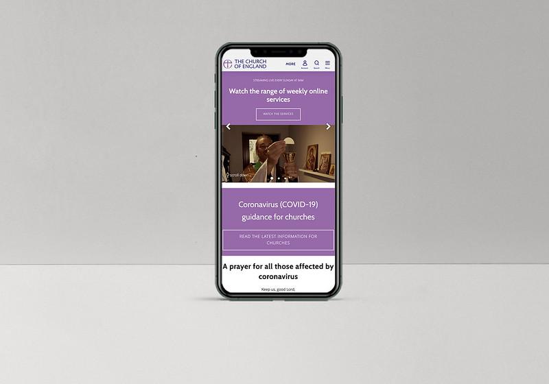 CofE website mobile menu 2020