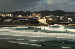 Coruña by day. Poesía Orzan.  Stormy Winter Weather.
