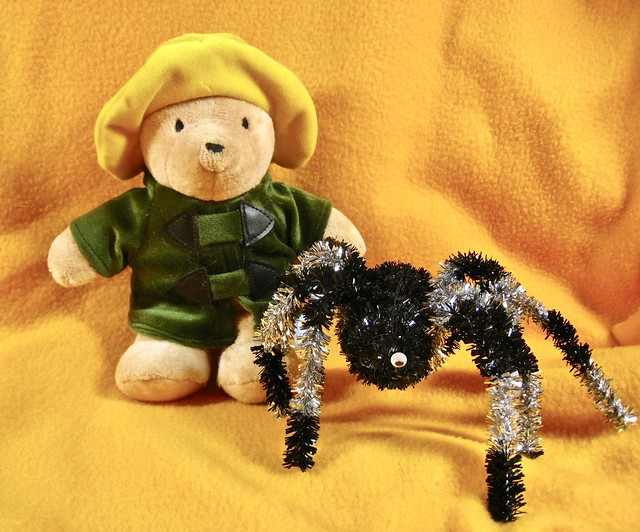 paddington and his pal one-eyed sparkly spidey