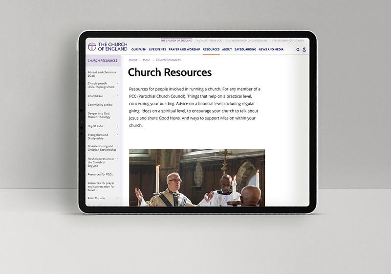 CofE website tablet menu 2020