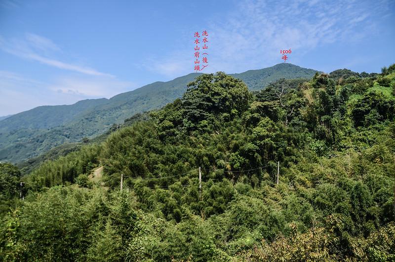 大坪產道觀景台東北望洗水山稜線 (2)
