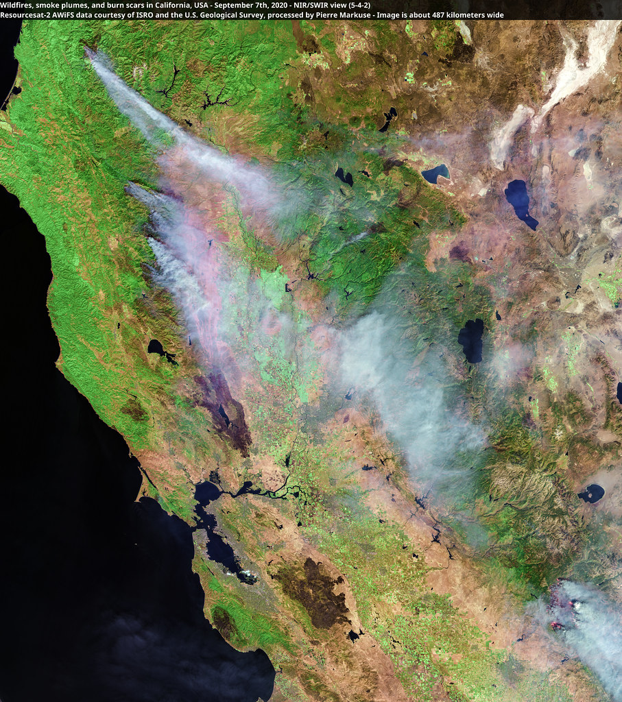 Wildfires, smoke plumes, and burn scars in California, USA - September 7th, 2020