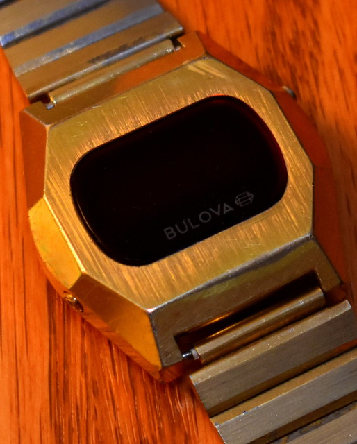 Vintage Bulova Computron Digital Quartz Watch With Matching Bulova Band, Red LED Display, Goldtone Finish, Circa 1976