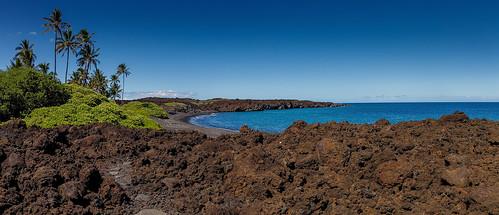 kiholobay hawaii bigisland landscape pano panorama landschaft lava sea meer water wasser palms beach canoneosr canonrf24105 usa amerika