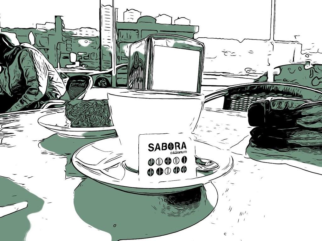 Debuxos de descafeinado de cafés Sabora