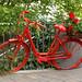 Ein rotes Fahrrad