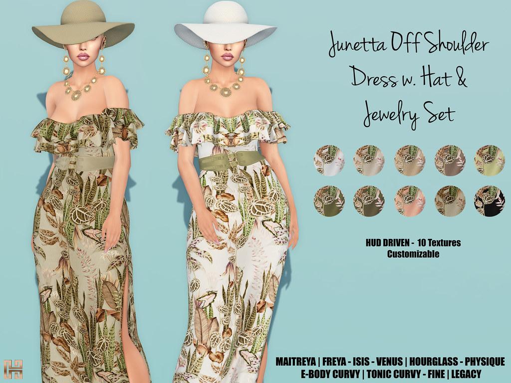Hilly Haalan – Junetta Off Shoulder Belted Dress Set