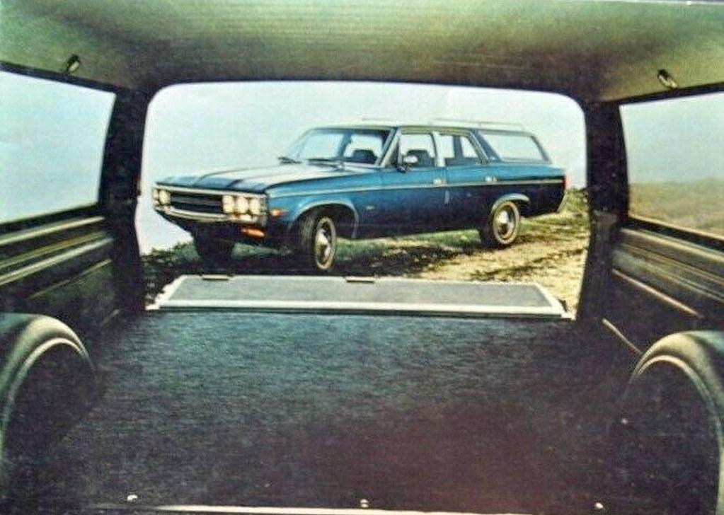 1971 AMC Matador Wagon showing cargo loading capacity, February 1971 American Motors press photo