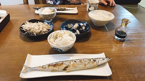 秋刀魚と栗ご飯