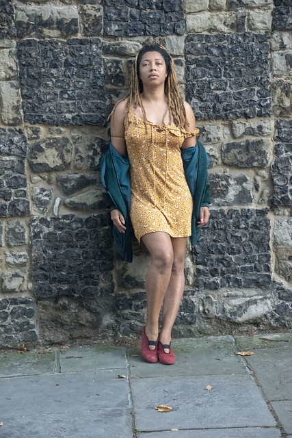 DSC_6171 Alesha from Jamaica out on the Town Early Morning in Yellow Mini Dress Charterhouse Square Barbican City of London