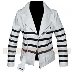 Katie Holmes White Biker Leather Jacket With Black Striped