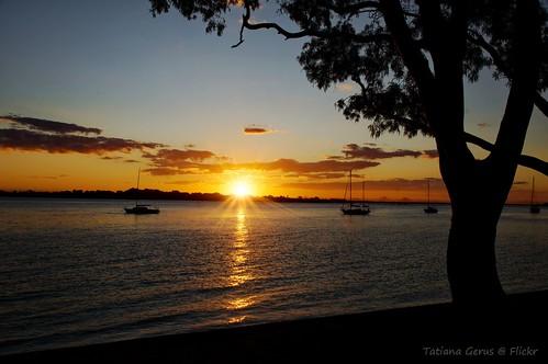 australia bribie sunset bribieisland queensland boat beach sun seascape