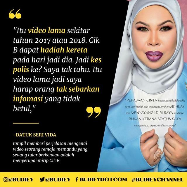 Viral Video Remaja Pandu Kereta Tanpa Lesen Mirip Cik B, Ini Jawapan Datuk Seri Vida