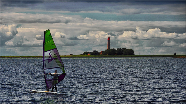 Windsurfing on the island of Fehmarn in the Baltic Sea