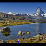 End of the summer in the Stellisee (Zermatt). Panorama.izakigur No. 62 63 65.08.09.20, 12:05:33. Canton of Valais, Switzerland.