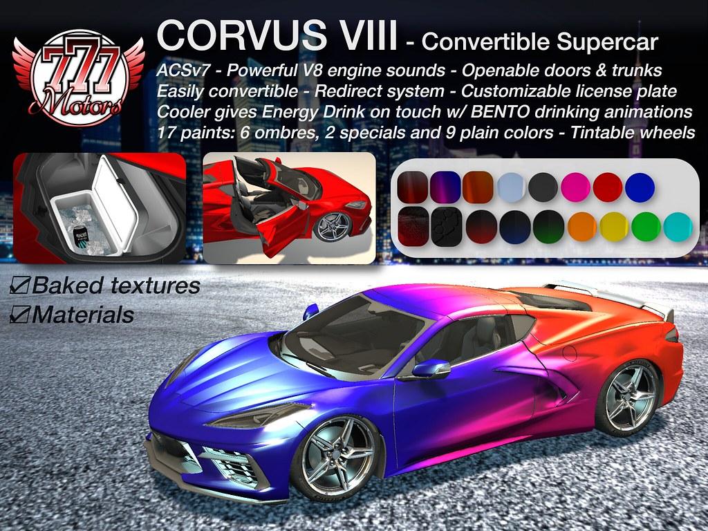 [777] Corvus VIII – Convertible Supercar