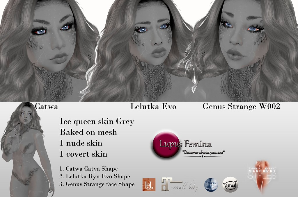 """Lupus Femina"" Ice Queen skin & shape Grey"