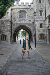 DSC_6236 Alesha from Jamaica out on the Town Early Morning in Yellow Mini Dress Clerkenwell London Museum of the order of St John. St John's Gate, Clerkenwell, a 16th-century gatehouse