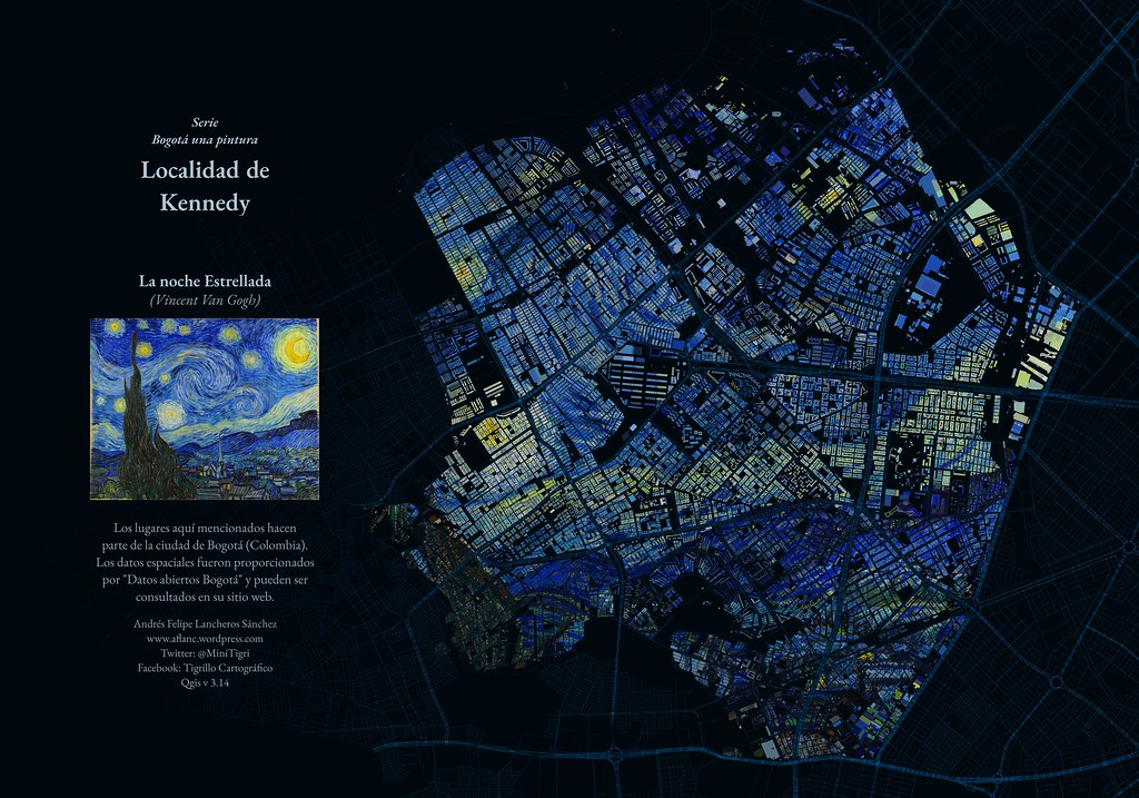 Map of Bogota, Colombia in the style of Starry Starry Night