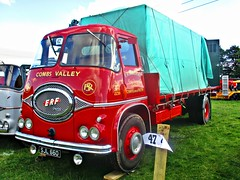 robertknight16 posted a photo:	ERF KV Series Flatbed (1962)Livery F R Somerset, Road Transport and Contractors. Coombs Valley, Chepel en le FrithOwner R Somerset, Chapel en le FrithRegistration Number SJL 660 (Holland, Lincolnshire)ERF ALBUMwww.flickr.com/photos/45676495@N05/albums/72157623665035629The KV was a radical change for ERF, designed by Dennis Foden who had recenctly become Managing Director, along with Gerald Broadben of Sandbach coachbuilders J H Jennings  and the ERF Chief Engineer Ernest Sherratt the new Kleer Vue cab (KV) was heralded as a futuristic design with its use of curved glass, on of the first applications in the truck industry and one that created challenges for glass manufacturer Triplex.. It prove popular with operatorswith its rounded shape and trusty Gardner engine Thankyou for a massive 54,531,272  views Shot 29.08.2016 at the Shrewesbury Steam Fair  REF 121-022