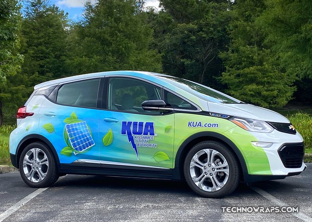 Chevy Bolt partial vehicle wrap designed, printed & installed in Orlando